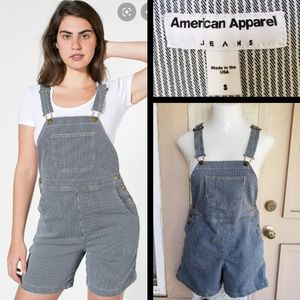 SMALL 8 women AMERICAN APPAREL shortalls blue